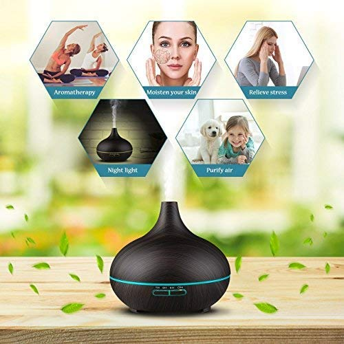 300ml Essential Oil Diffuser, Mini cold mist humidifier, 7 Color LED Lights for baby bedroom living room kitchen Yoga Black (Wood Grain) …