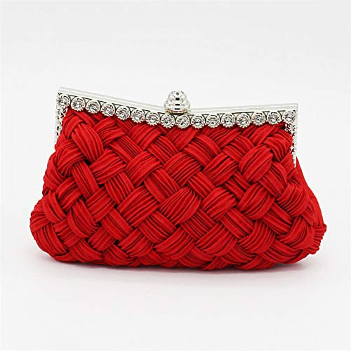 Cross Almond Bag Satin Women'S Bag Red Cosmetic Evening Tote Capacity Body Fuchsia Bags Handbags Large Crystals Tote Classic QZTG Red Clutch handbag BH7wq7FA
