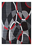 Masada Rugs, Modern Contemporary Area Rug, Red Grey Black (8 Feet X 10 Feet)
