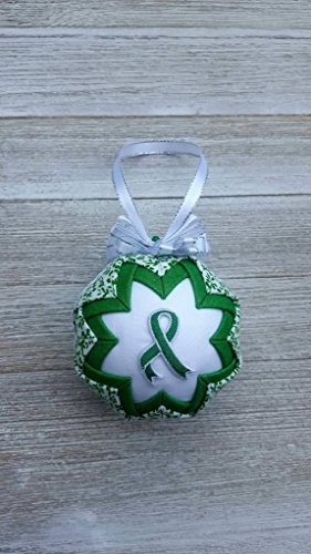 Kelly Green Awareness Ribbon Quilted Fabric Christmas Tree Ornament. Bile Duct & Gallbladder Cancer