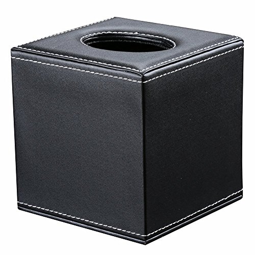 KINGFOM PU Leather Tissue Box Holder Square Roll Tissue Box Cover Napkin Paper Dispenser Box with Magnetic Bottom for Home Office Car Automotive Decoration (black) by KINGFOM