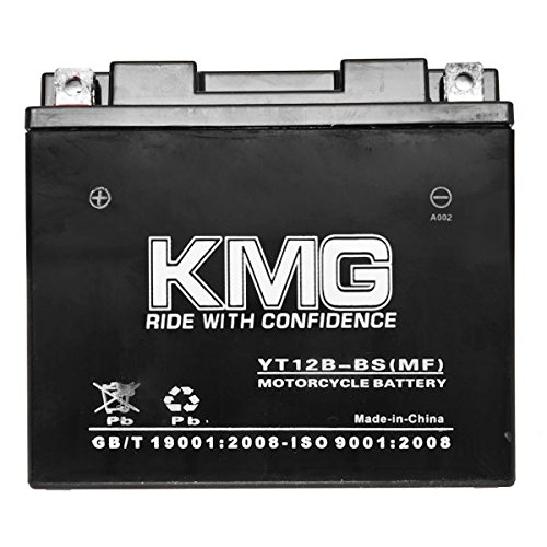 KMG Yamaha 650 XVS650 V-Star All 1998-2011 YT12B-BS Sealed Maintenace Free Battery High Performance 12V SMF OEM Replacement Maintenance Free Powersport Motorcycle ATV Scooter Snowmobile KMG by KMG (Image #1)