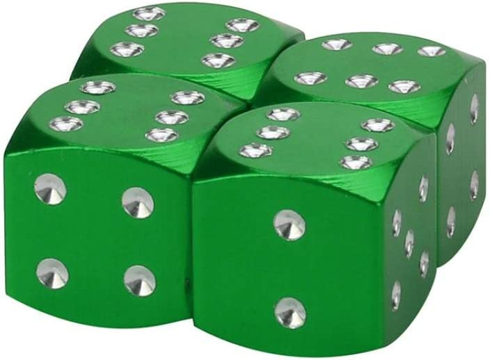 Bicycle Bike Schrader Valve Truck Transer Dice Dust Covers Novelty Fun Retro Aluminum Valve Caps for Car Green Valve Stem Caps SUV Motorcycles Pack of 4
