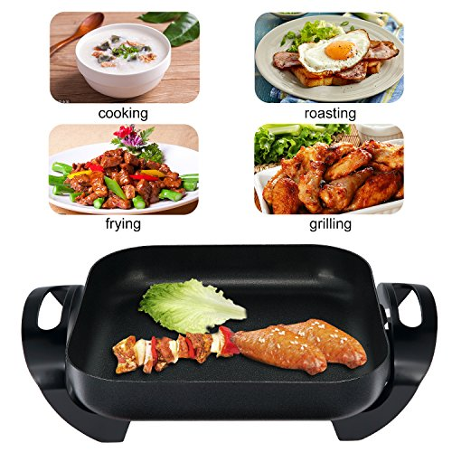 efluky Multifunctional 12 inch Electric Skillet with a Nonstick Surface for Cooking Anything from Breakfast to Dinner, 12 * 12 * 2 inch, 1400W, Black, GD-1212 by efluky (Image #6)