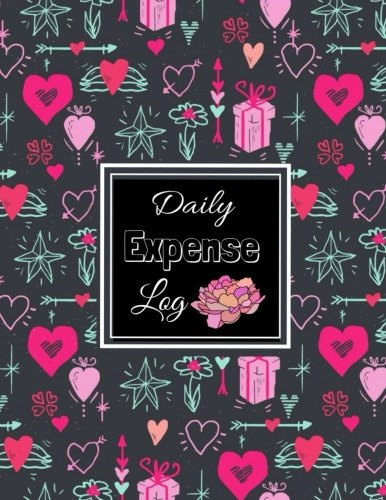 Daily Expenses Log: Expense Journal: Personal Expense Tracker : Pink Red Hearts In Black Loves Pattern  Design cover,Payment Record Tracker : Daily Expenses Tracker (Spending Log Books) (Volume 1).