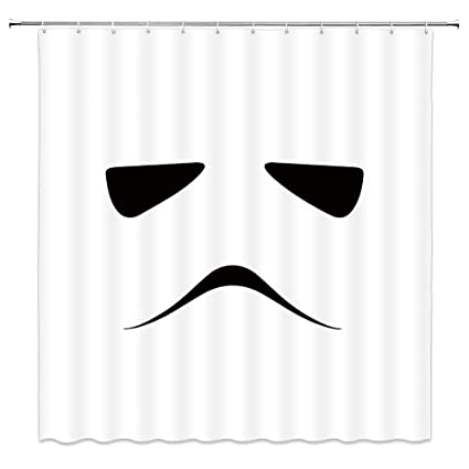 AMFD Star Wars Shower Curtain Imperial Stormtrooper White Minimalist Design Unique Cool Bathroom Curtains Polyester Fabric
