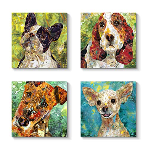 (Pet Abstract Canvas Wall Art - Dogs Series Graphic Artwork on Canvas for Decor)