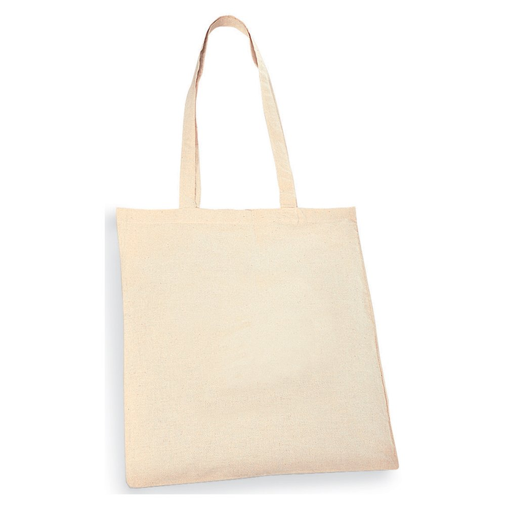 eBuyGB Long Handled Natural Cotton Shopper Tote Bag Pack of 50