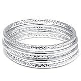 Sterling Silver 5 Pieces Set Bangle Bracelet 7''