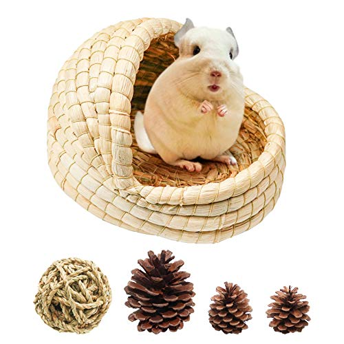Woven Pet Hay Bed for Hamsters, Rabbit Hay Mat Natural Handcrafted Woven Grass House Pet Bedding for Small Rabbits Hamster Bunny Chinchillas Guinea Pigs Provided Chew and Toys (7.9x7x6.3 inch)