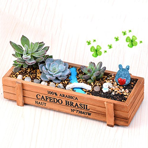 (Wood Planter Garden Yard Rectangle Flower Succulent Bed Trough Plant Pot Box ss)