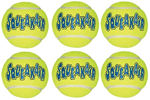 KONG Air Dog Squeak air Tennis Ball Dog Toy, Large, Yellow, 6 Count