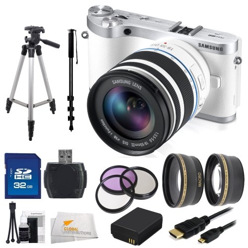 Samsung NX300 Mirrorless Digital Camera with 18-55mm f/3.5-5.6 OIS Lens (White) SSE Bundle Includes: 0.43x Wide Angle Lens, 2.2x Telephoto Lens, 3 Piece Filter Kit (UV-CPL-FLD), 32GB SD Memory Card, USB Memory Card Reader, Replacement BP1030 Battery, Micro HDMI Cable, Monopod, Tripod & Starter Kit