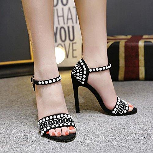 Open de GAOLIXIA y Fiesta de alto blanco Cremoso imitación mujer Toe Negro Sandalias Black noche Zapatos de Diamantes tacón znwqYzOr