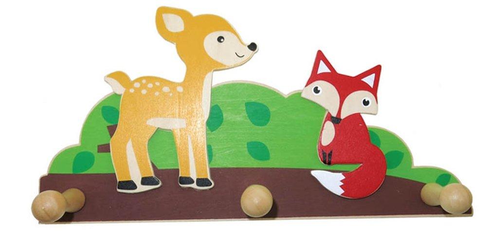 Inware 22998–Perchero Animales del bosque de madera, 3colgadores, perchero infantil