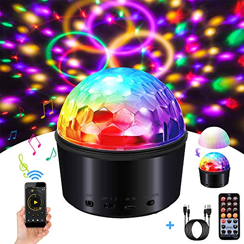 SOLMORE Party Lights Sound Activated Disco Ball with Remote Control 9 Colors Disco Lights DJ Lights Wireless Phone Connection LED Stage Light for Kids Bedroom Wedding Party Birthday -