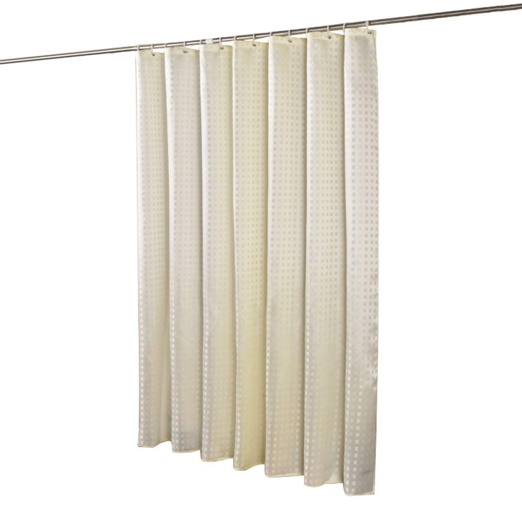 HONGLIAN Jacquard Square Large Ring Shower Curtain Thick Waterproof Mildew Bathroom Partition Curtain 150180cm, 180180cm, 200180cm (Color : Beige, Size : 150180cm)