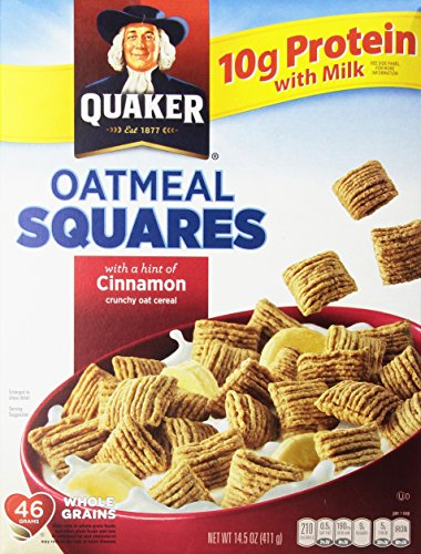 - Quaker Oatmeal Squares with Just A Hint Of Cinnamon Crunchy Oat Cereal 14.5 oz