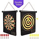 Mixi Magnetic Dart Board for Kids, Indoor Outdoor Darts Game Double Sided Board Games Set for Boys with 10 Darts, Best Toys Gifts for Teenage Boys Girls Age 5 6 7 8 9 10 11 12 13 14 15 16 Years