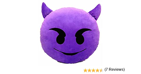 Cojín con Diseño de Emoji Emoticonos Emoticones Diablo Suave y Cómodo Decoración Sofá Juguete de Peluche Mono Divertido 32cm