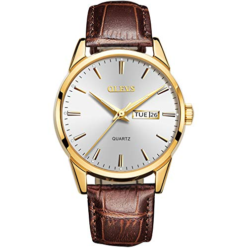 Mens Brown Leather Watch,Mens Dress Wrist Watches,Classic Casual Watches for Men,Mens Watches Clearance Sale Rose Gold,Men's Luxury Business Quartz Watch with Date and Day White Dial