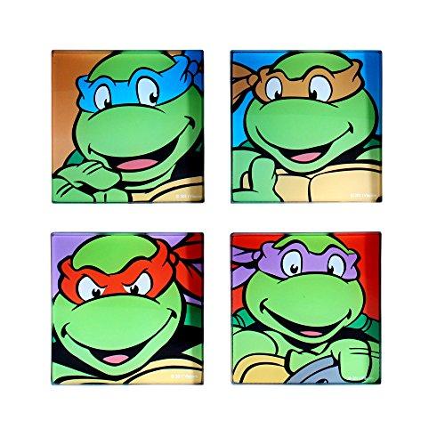 Teenage Mutant Ninja Turtles NT0354CS1 TMNT Smile Face Glass Coasters (4 Pack), Green (Ninja Turtles Face)