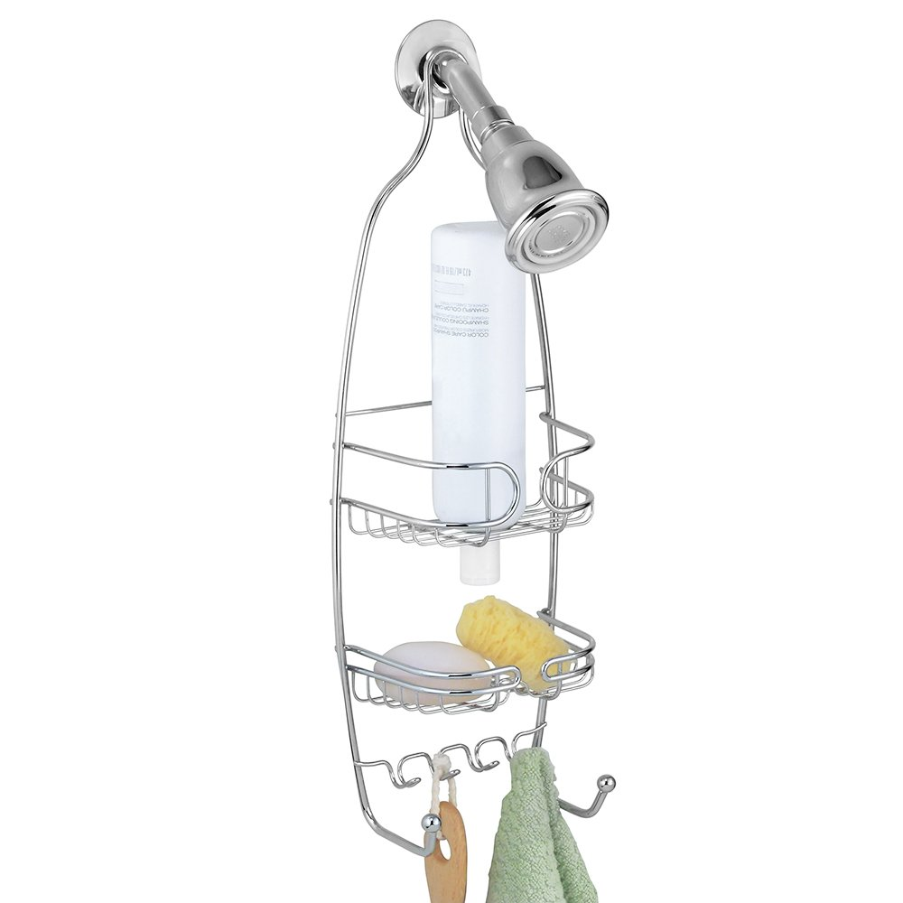 InterDesign Neo Small Shower Caddy – Bathroom Storage Shelves for Shampoo, Conditioner and Soap, Chrome by InterDesign