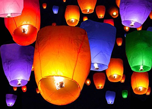 (TMS 50 Mix Colors Chinese Paper Sky Flying Wishing Lantern Lamp Candle Party Wedding Wish)