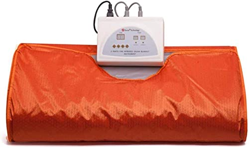 ETE ETMATE Sauna Blanket 2 Zone Controller Digital Heat Sauna Slimming Blanket Body Shaper Weight Loss Professional Detox Therapy Anti Ageing Beauty Machine Orange