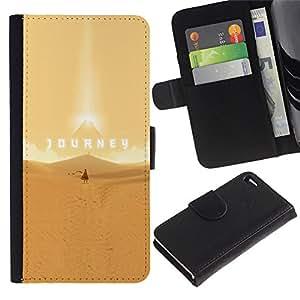 MobileTech / Apple Iphone 4 / 4S / Journey - Epic Desert / Cuero PU Delgado caso Billetera cubierta Shell Armor Funda Case Cover Wallet Credit Card