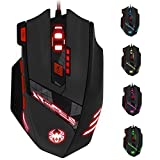 Zelotes T90 Professional 9200 DPI High Precision USB Wired Gaming Mouse,8 Buttons,With 7 kinds modes of LED Colorful Breathing Light, Weight Tuning Set Zelotes