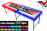 8-Foot Professional Beer Pong Table w/Cup Holes & LED Glow Lights - Top Pong Edition