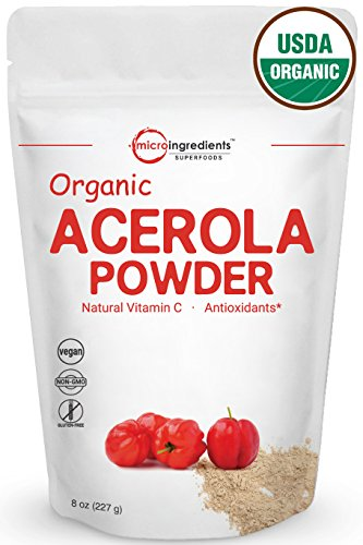 Pure Organic Acerola Cherries Extract, Natural & Organic Vitamin C Powder, 8 Ounce, Best Superfoods & Flavor for Beverage & Smoothie, Non-GMO and Vegan Friendly