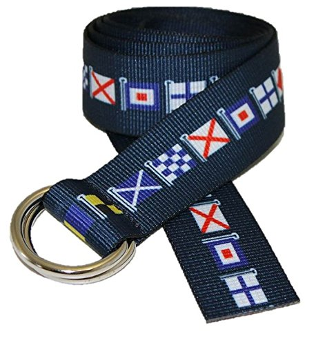 Classic D-ring Belt (D-Ring Canvas Web Sailing Belt Made in USA by Thomas Bates (Navy Code)