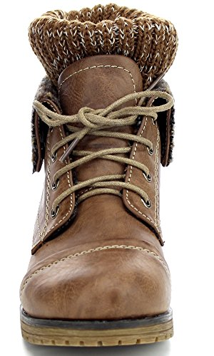Taupe lace REFRESH combat Women's ankle up bootie style 01 WYNNE TTwgPqzZ