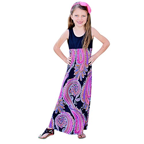 Mom&Me Beach Long Dress Franterd Mom & Baby Parent-Child Slim Vest Floral Boho Beach Sundress Family Matching Clothes (Daughter, (Baby Daddy Halloween Special)