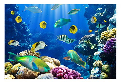 Beautiful Coral Reef World Photo Studio Backdrop 7x5FT Colorful Underwater Fishes Light Props Wall Photography Background EY008 -