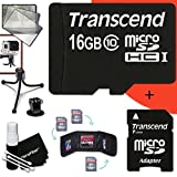 Transcend 16GB MicroSDHC Class10 High Speed Memory Card + Adapter KIT for GoPro HERO4 Hero 4 - Hero3+ Hero 3+ - HERO3 Hero 3 - HERO2 Hero 2 - Hero 3 Black Silver Edition - Hero2 Outdoor Edition Hero 960 - HD Motorsports HERO - Surf Hero - Hero Naked - GoPro Hero HD 1080p Digital Cameras Camcorders.