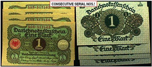 DE 1920 2, 4 or MORE CRISP, CONSECUTIVELY NUMBERED ART NOUVEAU 1 MARK BILLS! Choice Uncirculated