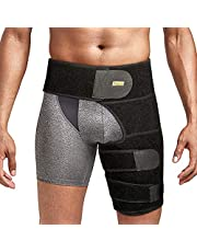 Thigh Brace Hip Support, Groin Wrap with Strong Adjustable Strap, Non-slip Compression Brace, Reduce Pain of Hip, Groin, Hamstring, Thigh, and Sciatic Nerve Injury, Fits Men and Women