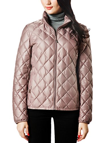 Quilted Puffer (XPOSURZONE Women Packable Down Quilted Jacket Lightweight Puffer Coat Redbean Melange M)