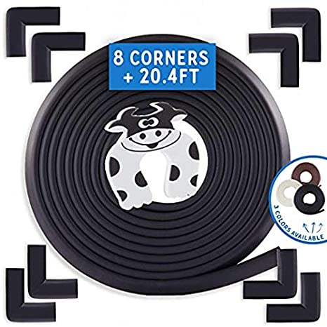 Oyster Baby Proofing Edge and Corner Guards 13 Piece Furniture Safety Set 20.4ft Edge + 8 Corners + 4 Door Pinch Guard