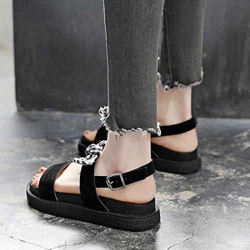 SOHOEOS romanas verano planas Negro Nueva estudiante joven sandalias Mujer plataforma Señoras Ulzzang sandalias hebilla para q1gxqwr