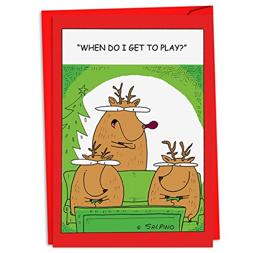 (12 Reindeer Video Games - Boxed Christmas Cards with Envelopes (4.63 x 6.75 Inch) - Hilarious Reindeer Holiday Notes, Funny Holiday Cards, Unique Christmas Stationary C4527XSG-B12)