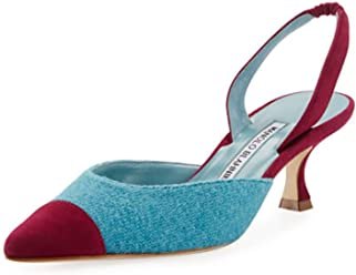 Manolo Blahnik Carolyne Tweed Low-Heel Halter Pump 42