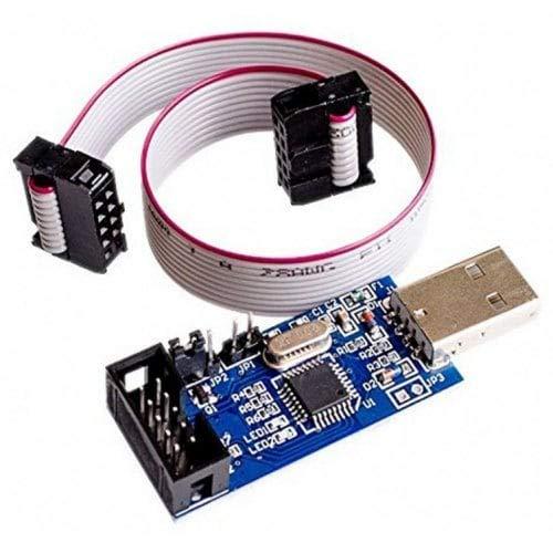 HaiM 51 AVR ATMEGA8 Programmer USBasp USB ISP 10 Pin USB Programmer 3.3V/5V Cable - Blue ()