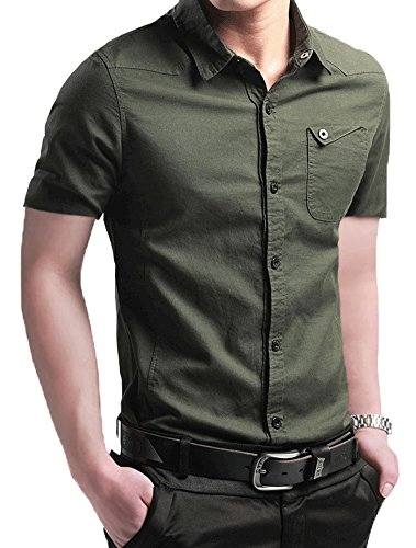 XTAPAN Men's Long Short Sleeve Casual Slim Fit Cotton Fashion Button Down Dress Shirt