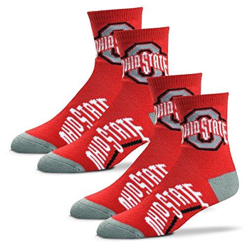 - For Bare Feet Men's Quarter Socks-Ohio State Buckeyes-Large-Scarlet-2 Pack