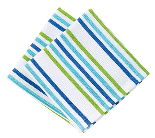 T-fal Textiles Highly Absorbent 100% Cotton Double Sided Printed Dish Cloths, 12 x 12, Set of 2, Cool Stripe Pattern