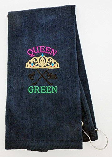 Mana Trading Custom Personalized Embroidered Golf Towel QUEEN OF THE GREEN (Navy (Blue Embroidered Velour Golf Towel)